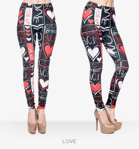 Love Print Leggings-Leggings-Owlizh-Owlizh