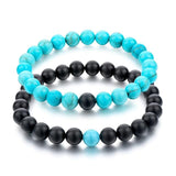 Lovers Natural Stone Bracelets-Stone Bracelet-Owlizh-Black & Turquoise-Owlizh