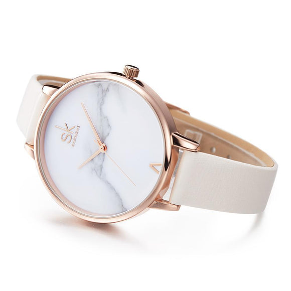 Marble Ice Quartz Watch-Watches-Owlizh-White-Owlizh