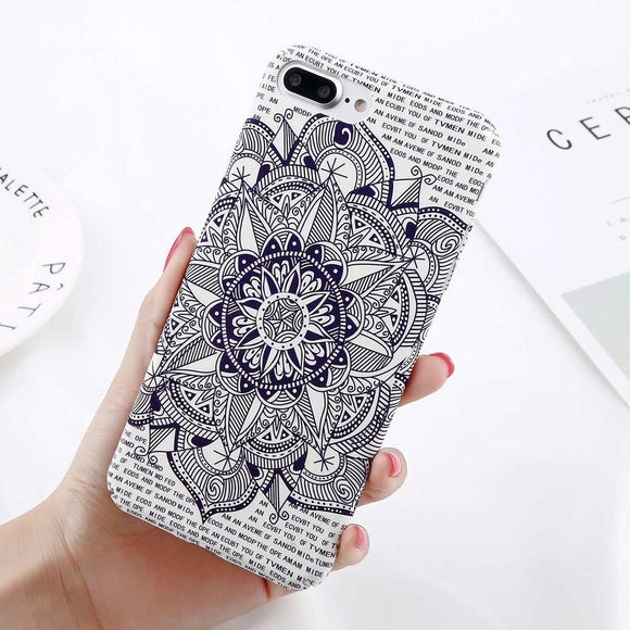 Matt Flower Mandala iPhone Case (For iPhone 6, 6s, 6 Plus, 6s Plus 7, 7 Plus, 8, 8 Plus, X)-Phone Case-Owlizh-Owlizh