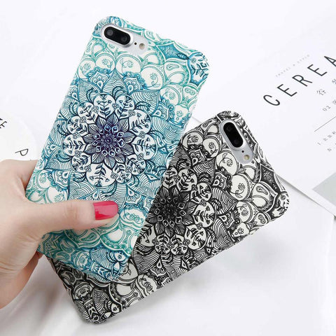 Matt Mandala Design iPhone Case (For iPhone 6, 6s, 6 Plus, 6s Plus 7, 7 Plus, 8, 8 Plus, X)-Phone Case-Owlizh-Owlizh