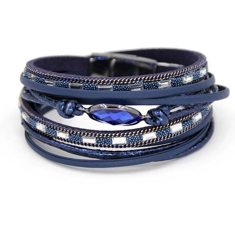 Multi Layer Winding Wrap Leather Bracelet-Wrap Bracelet-Owlizh-Blue-Owlizh