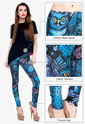 Owl Print Leggings-Leggings-Owlizh-Owlizh