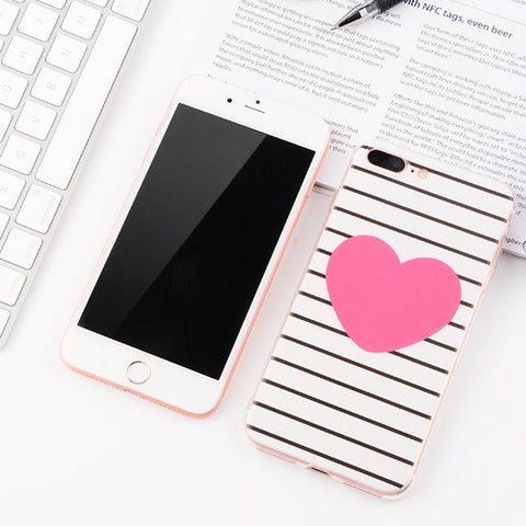 Pink Heart iPhone Case (For iPhone 6, 6s, 6 Plus, 6s Plus 7, 7 Plus, 8, 8 Plus, X)-Phone Case-Owlizh-Pink Heart-iPhone 7 Plus-Owlizh