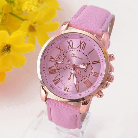 Platinum Design Leather Watch For Women-Watches-Owlizh-Pink-Owlizh