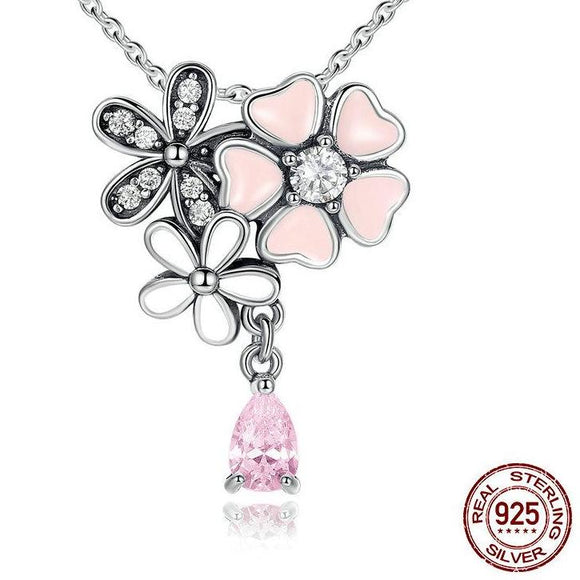 Cherry Blossom Sterling Silver Necklace - Owlizh