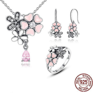 Cherry Blossom Sterling Silver Ring, Necklace & Earring Set - Owlizh