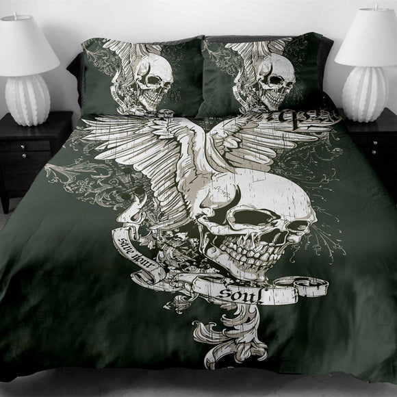 Save Your Soul Skull Print Duvet Cover Set With Pillowcase - Owlizh