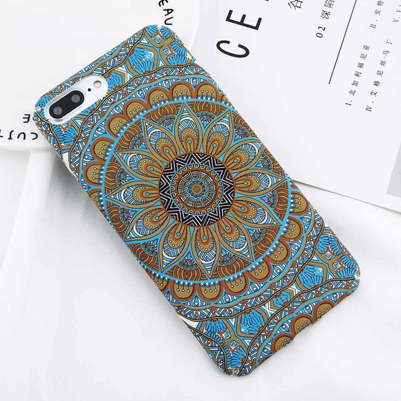 Matt Summer Flower Mandala iPhone Case (For iPhone 6 to X) - Owlizh
