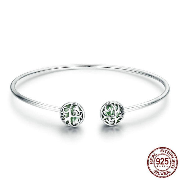 Sterling Silver Tree of Life Green Crystal Open Cuff Bangle