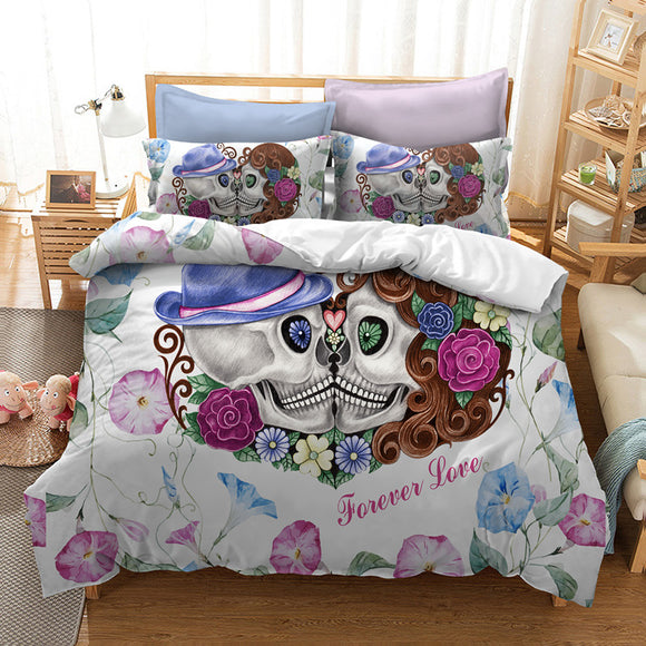 Lovers Skull Printed Duvet Cover Set With Pillowcase - Owlizh
