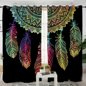 Black Dreamcatcher Printed Curtains Drapes - Owlizh