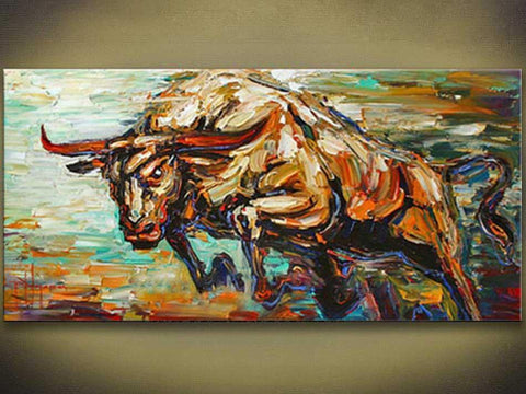 Raging Bull Abstract Hand Painted Wall Art Picture-Canvas Painting-Owlizh-40X80CM-Owlizh