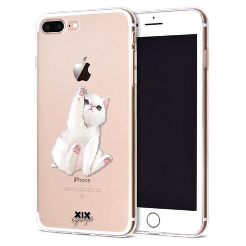 Reaching Kitty Apple iPhone Case (For iPhone 6, 6s, 6 Plus, 6s Plus 7, 7 Plus, 8, 8 Plus, X)-Phone Case-Owlizh-Reaching Kitty-iPhone 6 Plus-Owlizh