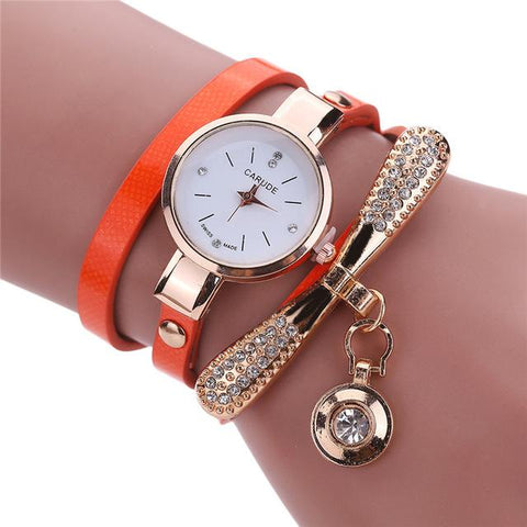 Rhinestone Multilayer Wrap Watch-Wrap Watch-Owlizh-Orange-Owlizh