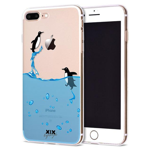 Swimming Penguin Apple iPhone Case (For iPhone 6 to X) - Owlizh