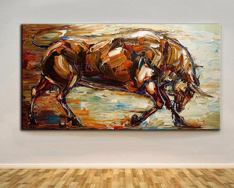 The Bull Awaits Hand Painted Oil On Canvas-Canvas Painting-Owlizh-40cm X 80cm-Owlizh