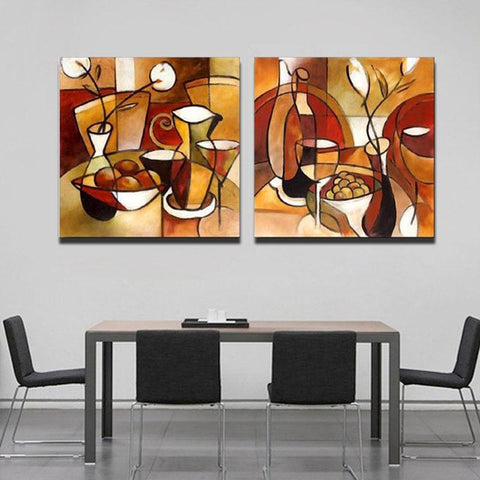 The Kitchen Table-Canvas Painting-Owlizh-40cm X 40cm x 2 Pieces-Owlizh