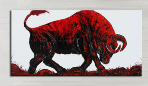 The Old Bull Hand Painted Oil On Canvas-Canvas Painting-Owlizh-40cm X 80cm-Red-Owlizh
