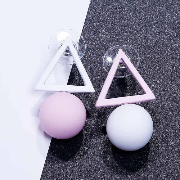 Triangle and Ball Drop Earrings-Earring-Owlizh-Pink & White-Owlizh