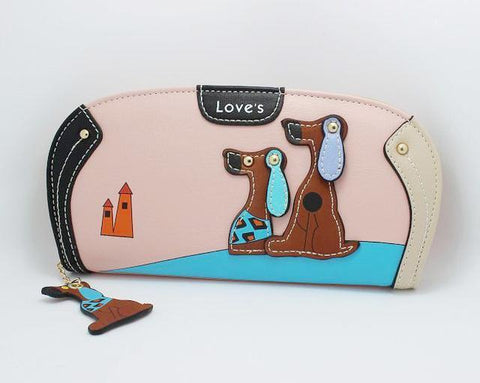 Two Doggy Purse-Wallet-Owlizh-Pink-Owlizh