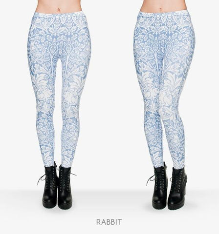 White Rabbit Print Leggings-Leggings-Owlizh-Owlizh