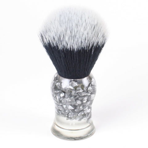 Above the Tie Clear / Steel Shard Shaving Brush - Synthetic Timber Wolf Knot