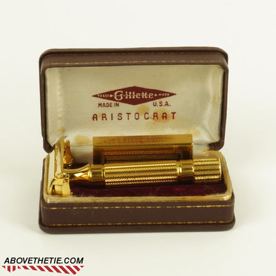 24K Gold Gilette Aristocrat with Case 1946-1947 - Above the Tie