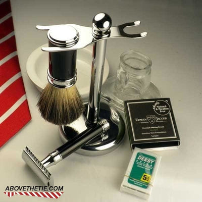Edwin Jagger Double Edge Ebony Safety Razor 3 pc Set, with Pure Badger Brush & Stand - Above the Tie