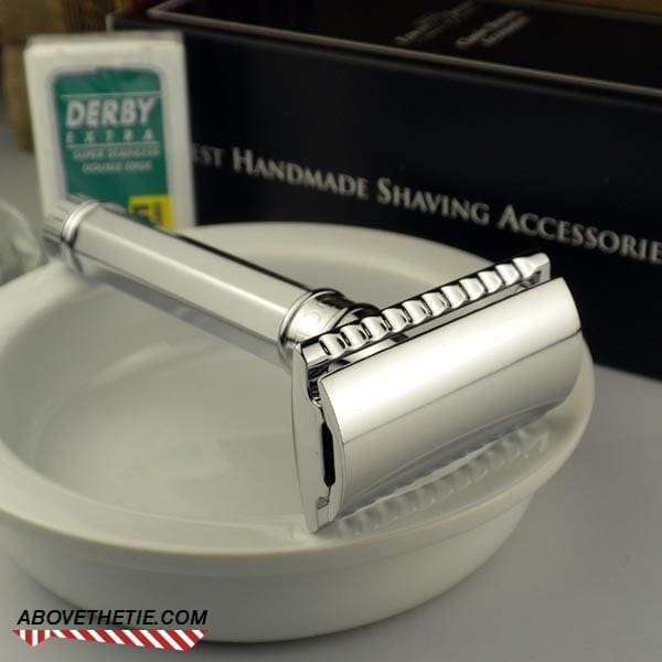 Edwin Jagger Double Edge Safety Razor, Octagonal Chrome Plated - Above the Tie