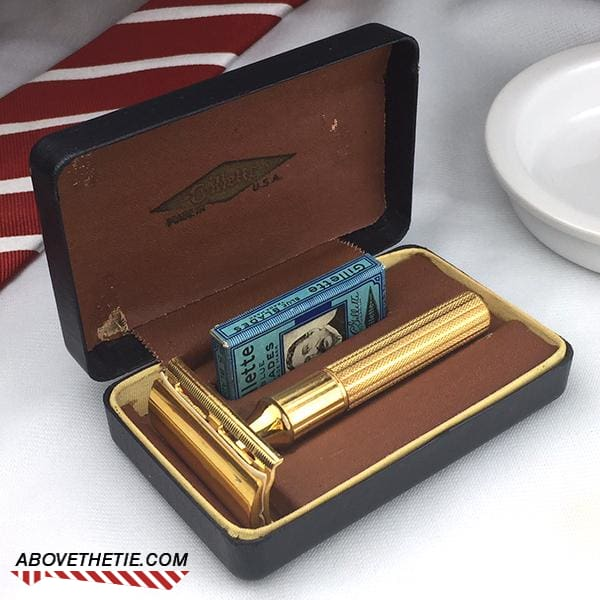 Gold Gillette Tech Safety Razor & Case 1946 - Above the Tie