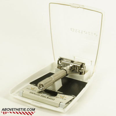 Rhodium Gillette Slim Adjustable with Case J-4 1964 - Above the Tie