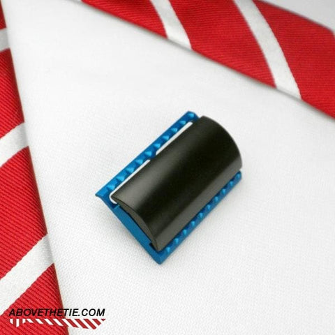 S1 Slant Solid Bar - Aluminum Safety Razor Head Used - Above the Tie