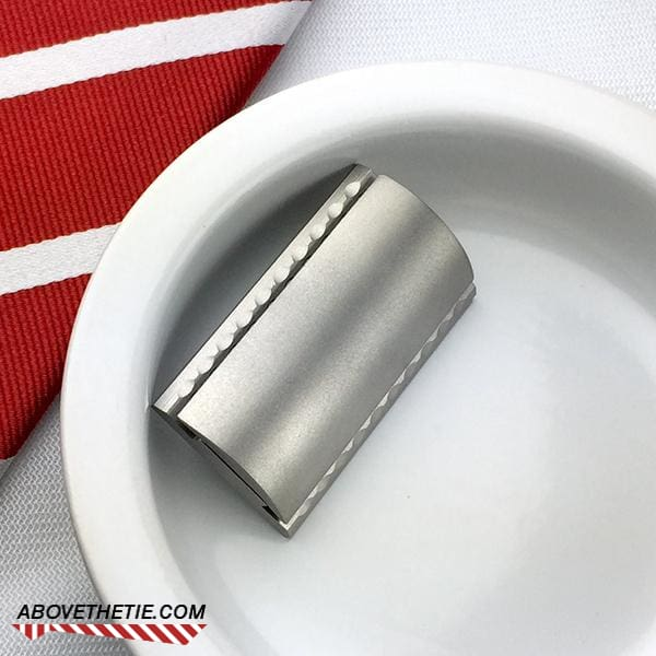 SSM1 - Satin Stainless Steel Safety Razor Head - Above the Tie