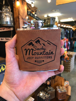 LEATHER LOGO FLASK