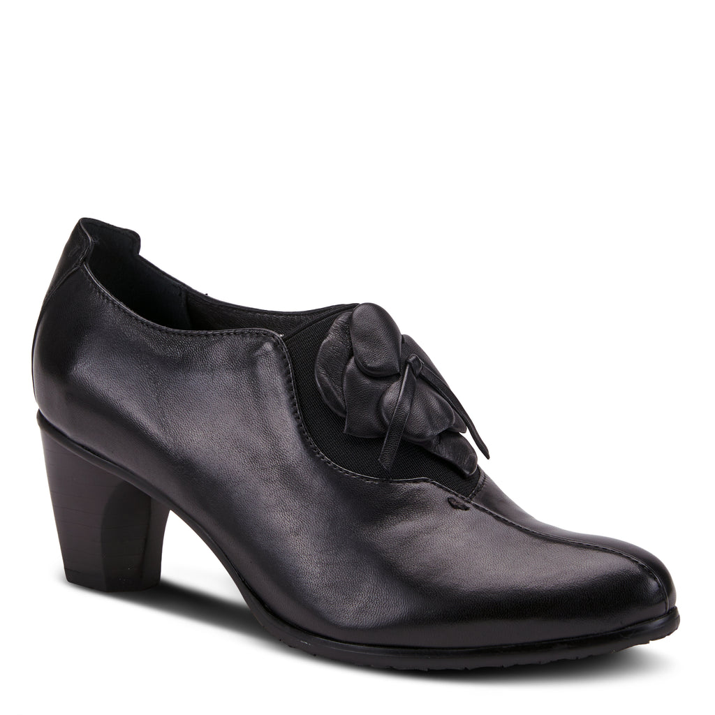Women's Spring Step Evelina  Color Black  Women's Polished Leather Heeled Slip-On fashioned
