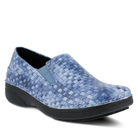 2017 In Line Spring Step Ferrara Slip Resistant Slip On Blue Basket Print