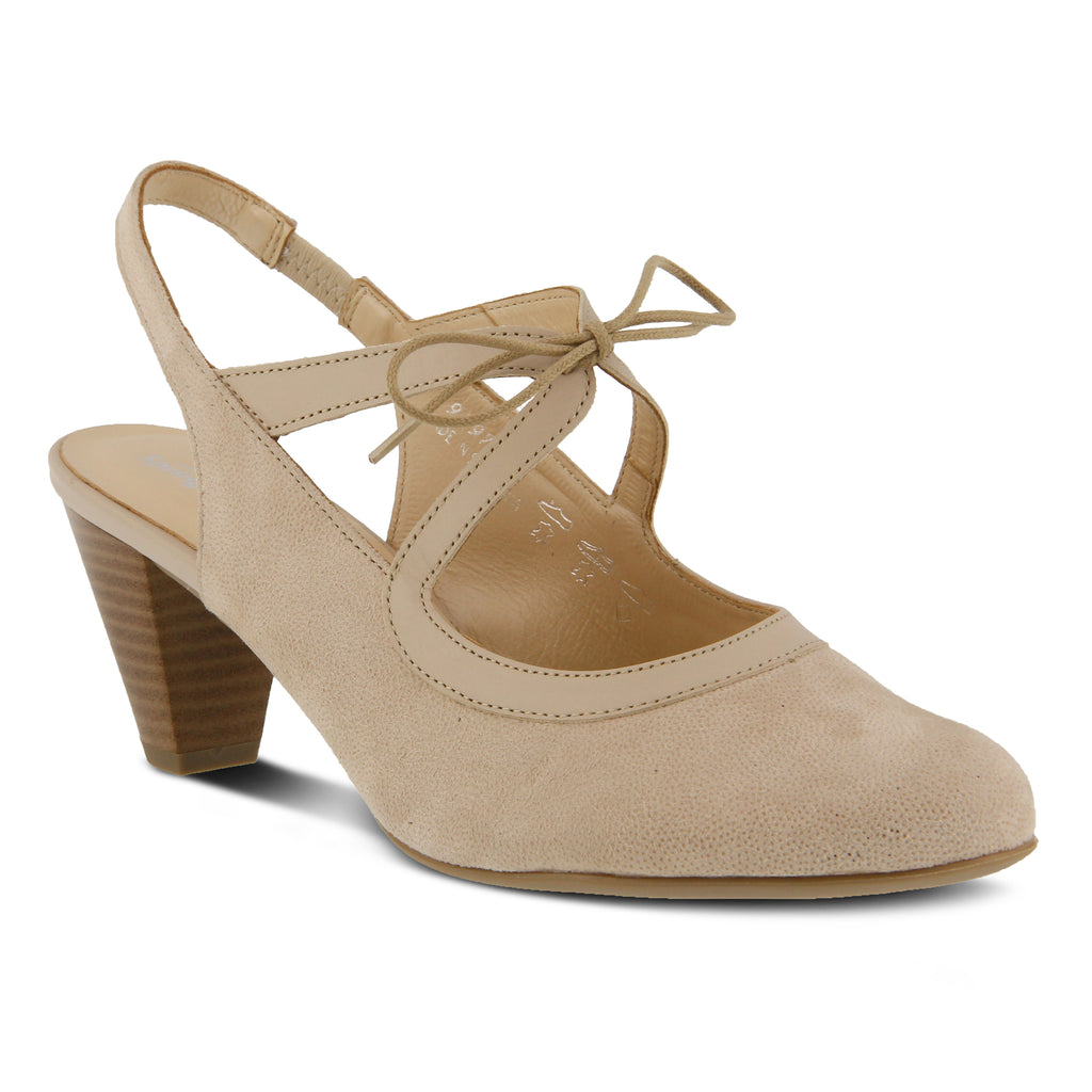 Women Spring Step Finesse Lace Up Slingback Beige Printed Suede newest