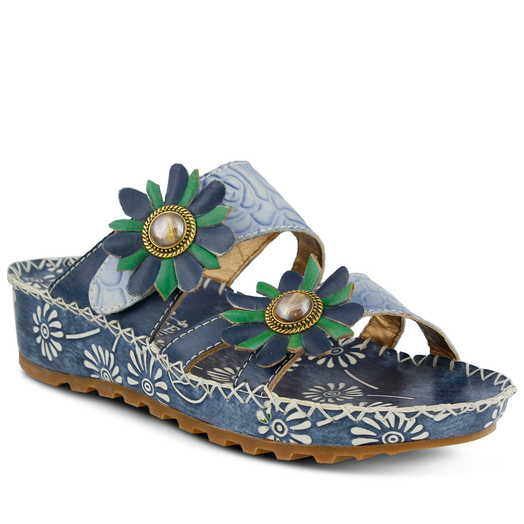 ed702ebbd621 BLUE FRAY SLIDE SANDAL by L ARTISTE – Spring Step Shoes