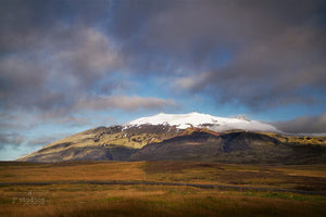 Image of the famous Snæfellsjökull volcano in Snaefellsnes Peninsula of Iceland. Nordic landscape photography.