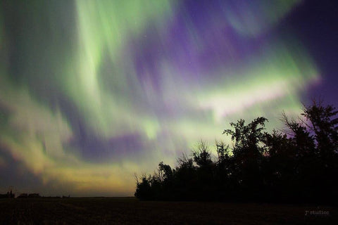 Splash of Aurora is an image of the Aurora Borealis over south Edmonton on a G3 Storm. Northern Lights art print.