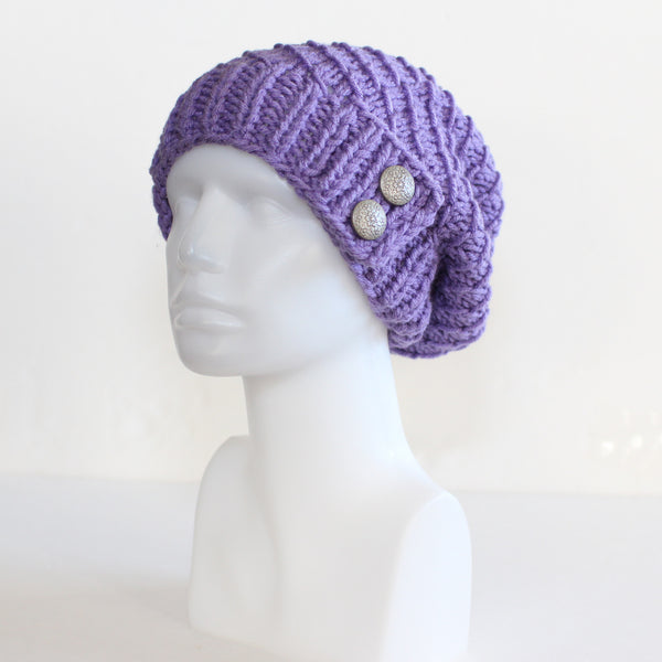 Lilac Purple Slouchy Knit Toque with Buttons
