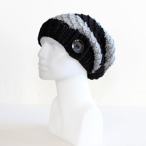 Black and Gray Slouchy Knit Toque with Buttons