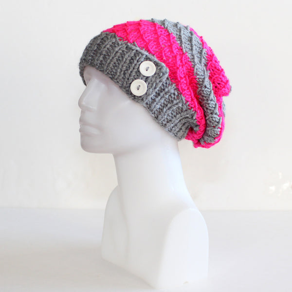 Gray and Neon Pink Slouchy Knit Toque with Buttons
