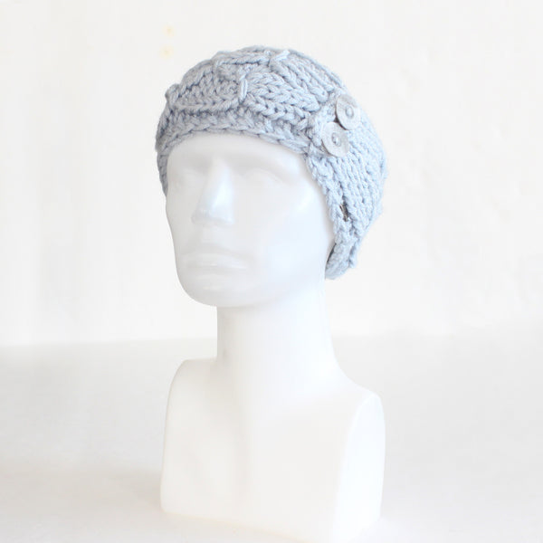 Light Blue Crisscross Double Button Knit Headband