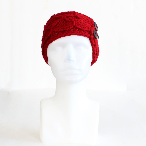 Red Crisscross Double Button Knit Headband