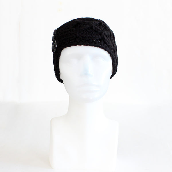 Black Crisscross Double Button Knit Headband