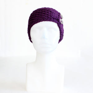 Dark Purple Twist-Style Knit Headband with Buttons