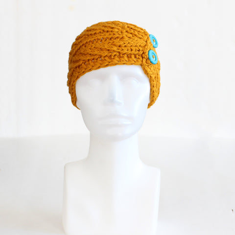 Mustard Twist-Style Knit Headband with Buttons