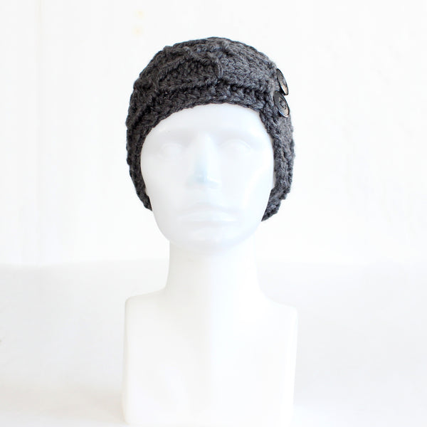 Charcoal Gray Crisscross Double Button Knit Headband